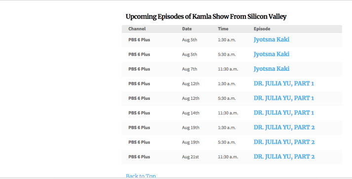 Arizona Public Media Schedule for The Kamla Show