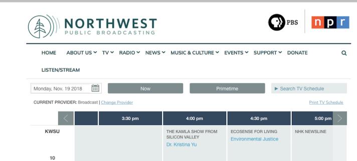 The Kamla Show on KWSU PBS Station in Pullman, WA